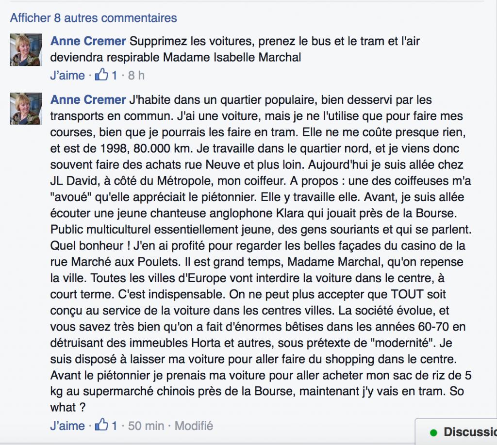Déclaration de Anne Cremer sur Facebook, le 12 novembre 2015