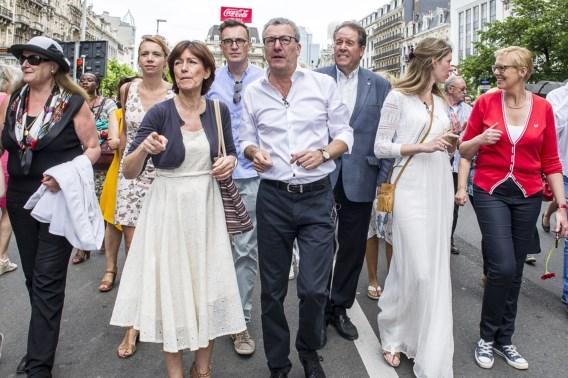 Yvan Mayeur et Laurette Onkelinx inaugurant le piétonnier de Bruxelles en juin 2015
