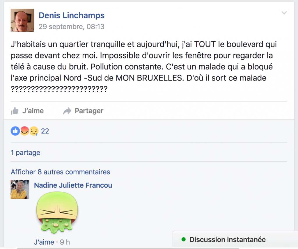 """C'est un malade qui a bloqué l'axe principal nord-sud de mon Bruxelles"" s'indigne cet internaute"
