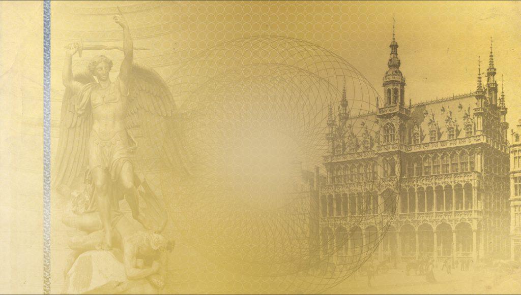Voici le véritable fond du chèque réservé aux commerçants du Pentagone de Bruxelles, mis au point par pietonnier.brussels et ses partenaires. Ce chèque comporte d'importantes sécurités (papier spécial filigrané, bande holographique, etc.) et son fond représente des motifs typiquement bruxellois : Saint Michel et la Maison du Roi, Grand-Place