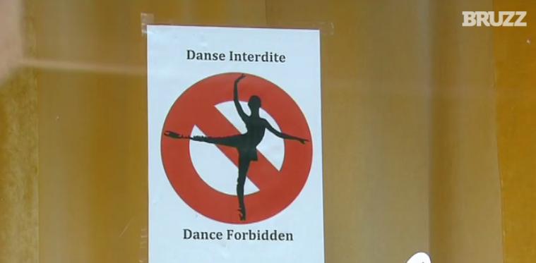Pour se couvrir, certains établissements bruxellois apposent une affiche interdisant la danse...